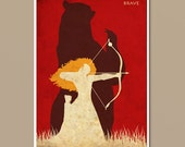 Pixar Brave Vintage Minimalist Movie Poster Print