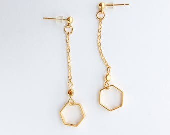 Gold Hexagon Earrings - Geometric Jewlery Delicate Earrings Gift Anniversary Womens Birthday Gift for Women Good for the Soule