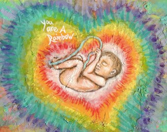 You Are A Rainbow Baby Art birth pregnancy miscarriage pregnancy loss awareness angel by rachael rose zoller