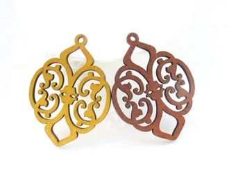 Dyeing Series -6 PCS 41x 55mm Filigree Variety of Colors Of Moroccan style Wood Dangle/Wood Charm/Wood Earring Finding/Embellishment NM144