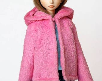 Pink fur coat for for MSD BJD / Obitsu body 1/3 (47 cm/18,5 in)