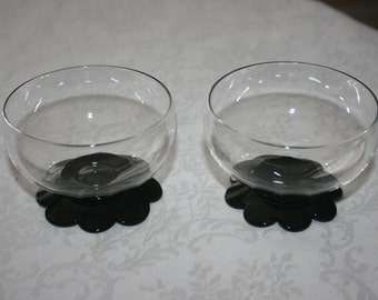 Vintage Weston Glass Company Set of Three 3 Clear and Black Glasses Sherbert of Champagne Glasses Black Lily Pad Foot