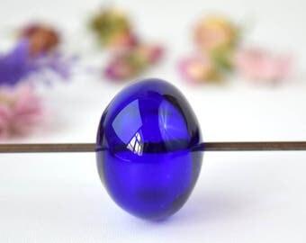 Big blue hollow bead, lampwork glass bead, big murano bead, murano glass bead, large glass bead, sra lampwork, large hollow bead