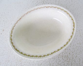 KT&K Oval Serving Bowl Clover and Red Band Knowles KTK38 Semi Vitreous China