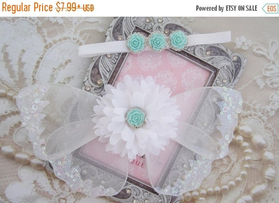 20% OFF SALE White and aqua glitter wings, purchase headband only, wings only or the set - newborn photos, newborn photographers by Lil Miss