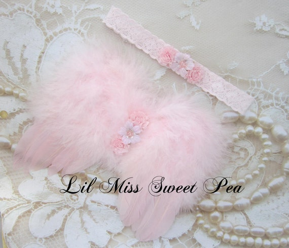 Light Pink Angel Baby Wings and/or Matching Vintage Lace Headband, for a teenie infant, photo shoot, baby photo, by Lil Miss Sweet Pea