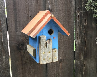 Unique Birdhouses Outdoor Rustic Wooden Bird House Whimsical Hand Painted Functional Birdhouse, Bird Houses For Sale, Item #501448196