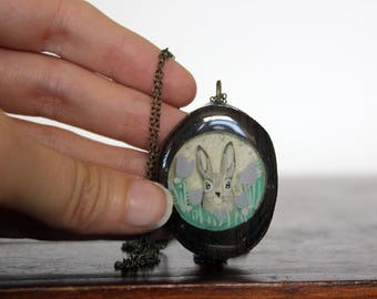 Purple rabbit necklace- upcycled wood rabbit pendant