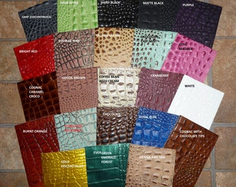 """Leather 12""""x20"""" ++ ALLIGATOR / Croc grain embossed Cowhide Your choice of color and size at checkout! 2-3.5oz / .8-1.4mm PeggySueAlso"""