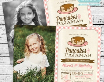 Pancakes and PJs Party, Pancakes and Pajamas Party, Pancakes Photo Invitation, Pancakes Invite and Party Decor