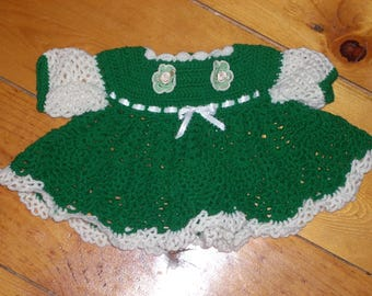Green Crocheted Baby Dress - 3 months