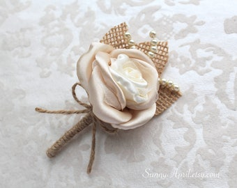 Ivory Champagne Rose Burlap Boutonniere/ Handmade Rustic Wedding Accessory