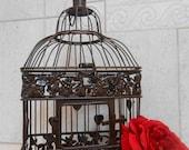 ON SALE Small Brown Wedding Birdcage Card Holder / Wedding Card Box / Brown Birdcage / Rustic Wedding Decor / Vintage Wedding Decor / Card H