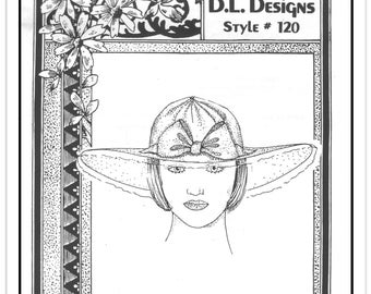 """DL DESIGNS Pattern 120 - Misses' Summer Garden Party Hat with Bow Trim - Head Size 19 to 25"""" - Uncut/FF - Vintage 1987"""