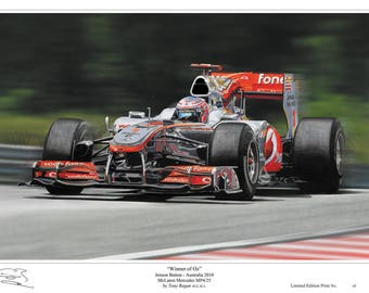 Jenson Button F1 McLaren 2010 Limited Edition Art Print