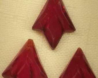 Teardrop 1930s ANTIQUE glass Beads German pendant drops top-hole (3) GARNET