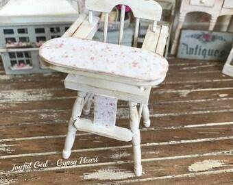 Dollhouse Highchair 1:12 Shabby Baby Nursery Miniature