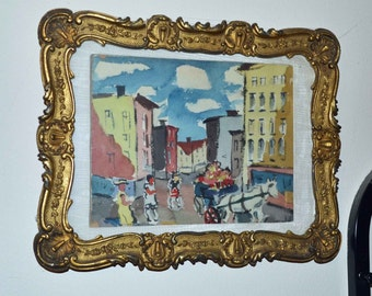Horse and buggy city scene 1942 by Grimwald