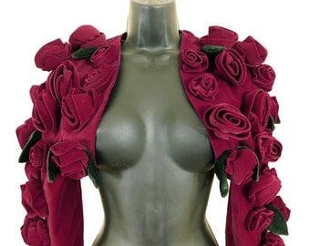 Vintage Monica Chong haute couture burgundy velvet rosebud bolero shrug jacket