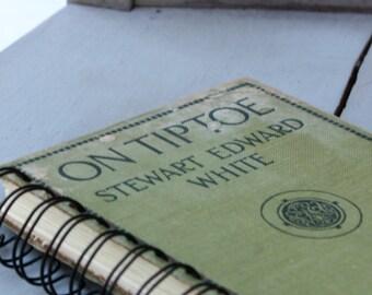 Journal, Vintage Book, Spiral Bound Journal, Old Book Journal, Light Green Journal