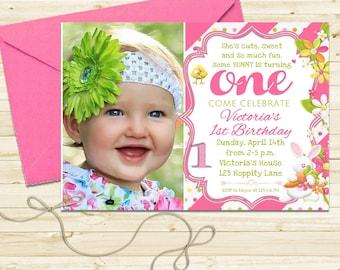 Bunny Birthday Invitation, Spring Birthday Invitation, Easter Birthday Invitation, First Birthday Invitation, Printable Invite
