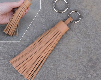 LARGE Type -Beige Unique and Chic Leather TASSEL Key Chain or Bag Charm-(Pls choose Key Ring Clip & Color)