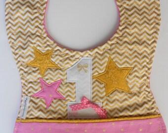 FREE USA SHIPPING, Twinkle Twinkle Little Star First Birthday bib,Appliqued Twinkle Twinkle Birthday Bib, Twinkle Twinkle 1st Birthday bib