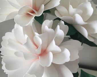 Full bloom carnations handmade paper flowers -set of 3 flowers-stems included