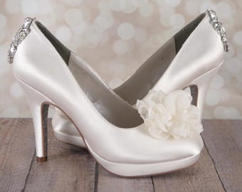 Custom Wedding Shoes, Ivory Wedding Shoes, Bling Wedding Shoes, Wedding Shoe Bling, Closed Toe Shoes, Crystal Heels, Chiffon Wedding