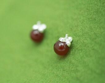 Mangosteen earrings - agate earrings - hypoallergenic - fruit earrings - Asian fruit - Stud earrings - Gift for her - free shipping