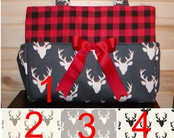 Diaper bag, handbag, purse, book bag..Plaid N Buck..With Name and Bow. You choose Color of buck and size. Add font in message.