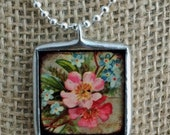 CLEARANCE Vintage Birds and Flowers, Silver Necklace, Charm Necklace, Wearable Art, Vintage Nature Art Silver Solder Glass Pendant Charm Nec