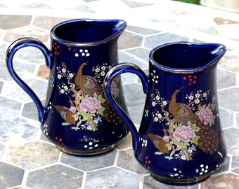 Two Vintage Jars Creamer Small Vase Peacock and Flowers Lovely Decor Items Good condition