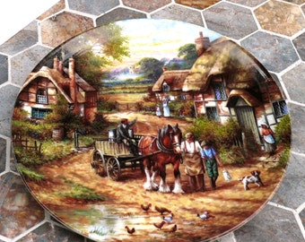 Vintage Wall Hanging Plate - 1986 limited addition Christian Luckel idyllic village life collection, signed - Great Gift