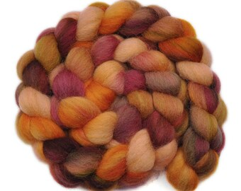 Hand dyed roving - Cheviot Wool / Nylon 80/20% spinning fiber - 4.7 ounces - Autumn Cicadas 1