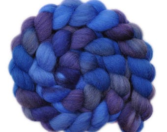 Hand dyed roving - Cheviot Wool / Nylon 80/20% spinning fiber - 4.9 ounces - To The Lighthouse 1