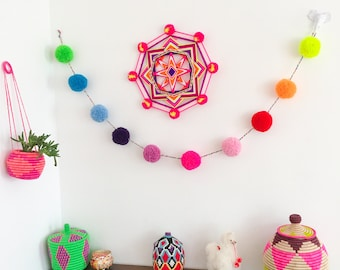 Rainbow wool pom pom garland - 6ft - colorful wall decoration nursery and  living room