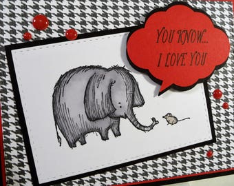 I Love You Card, blank inside, elephant and mouse, friendship, boyfriend card, unisex, child card, hand stamped, copic colored card (C1265)
