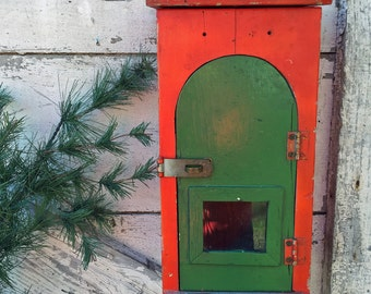 Vintage Hand Made Wooden Mailbox - Wall Mount - Red and Green - Mail Receptacle - Postal Box