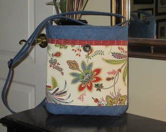 Red, Blue and White Paisley Print Front Pocket on a Denim Quilted Crossbody/Shoulder Bag