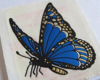 ON SALE Rare Vintage Personal Expressions Embossed Metallic Gold and Cobalt Blue Butterfly Sticker - 80's Wings Fly Bug Monarch Sapphire