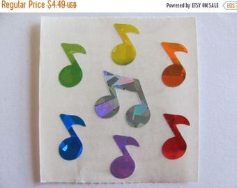 SALE Rare Vintage Sandylion Prism Rainbow Music Note Sticker Sheet - 80's Prismatic Scrapbook Collage Collectible Musical Treble Clef