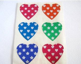 SALE Illuminations Super Shiny Sixes Metallic Silver Foil Patterned Hearts Rare Vintage Sticker Sheet - 80's Rainbow Star