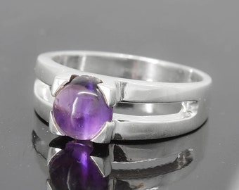 Amethyst Ring, Purple, Round, Birthstone Ring, February, Gemstone Ring, Sterling Silver Ring, Solitaire Ring, Statement Ring