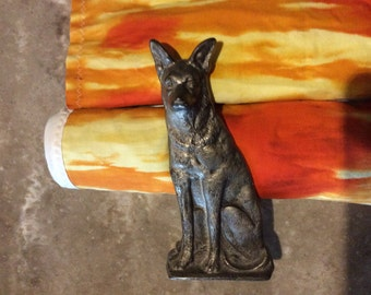 Vintage German Shepherd  statue 6 1/2 inches tall metal stands alone