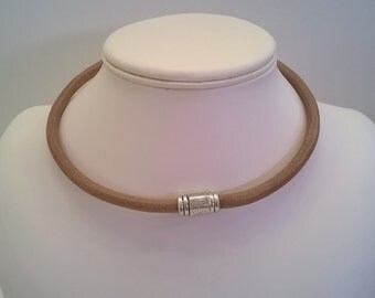Natural Tan Brown Leather Cord Necklace with Decorative Magnetic Clasp - Western Southwestern Choker Necklace