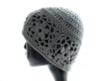 Women's Crochet Beanie Hat, Hat with Floral Motifs, Pewter Gray Bamboo - Silk Hat, Medium Size
