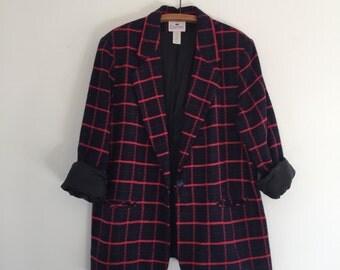 Vintage 90's Windowpane Plaid Blazer / Oversized Grid Pattern Jacket XL