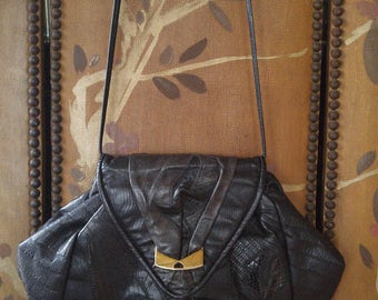 80s black leather patchwork handbag by 5th Ave Handbags