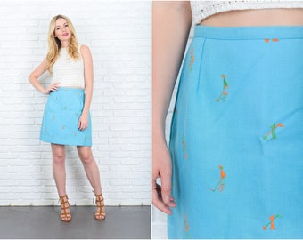 Vintage 80s Blue Mini Skirt Golf Embroidered Retro Cotton Linen Small S 9432